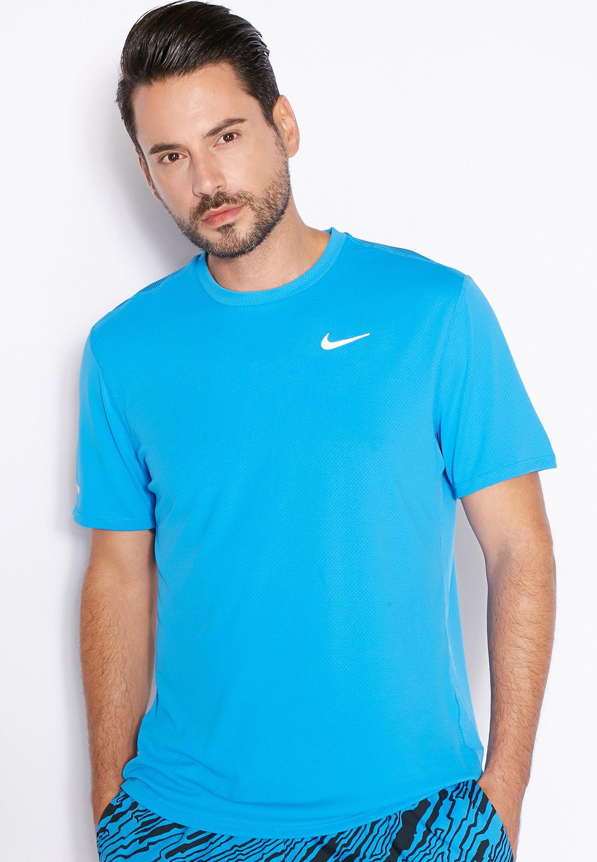 27bdf0ab1 Shop Nike blue Dri-Fit Contour T-Shirt 683517-435 for Men in Bahrain ...