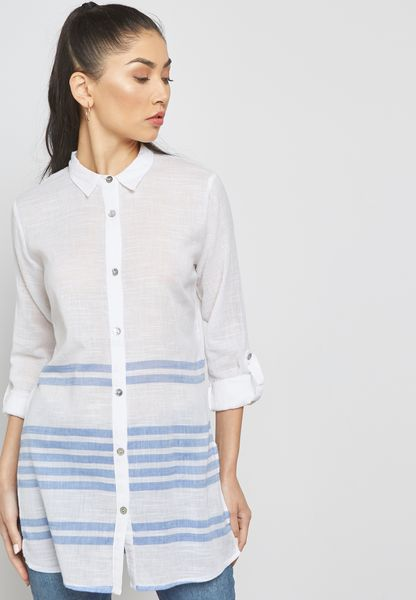 قميص طوبل بخطوط