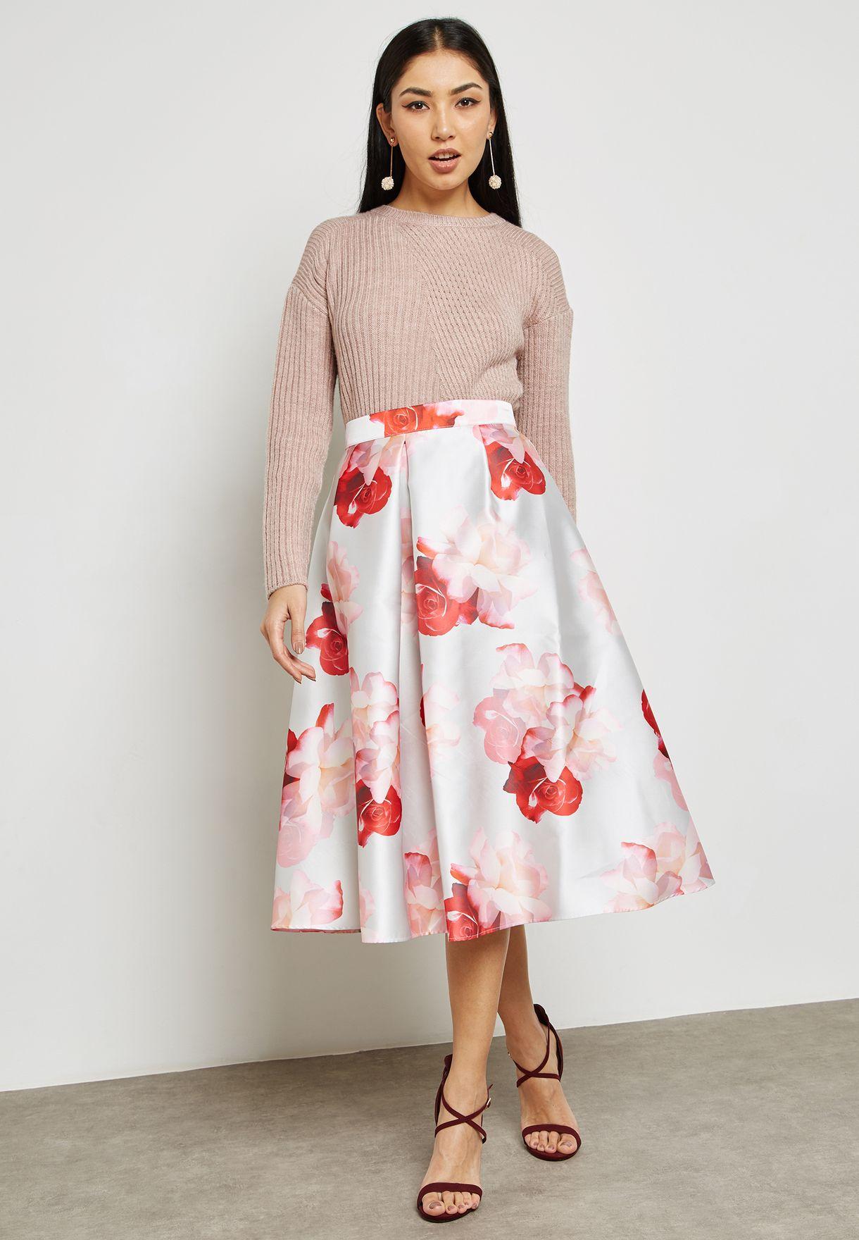 Floral Print Prom Skirt