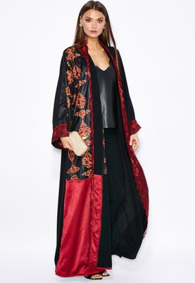 Haya's Closet One Side Embroidered Lace Trim Bisht