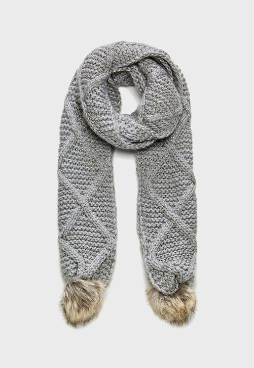 Tiffanie Knit Pompom Scarf