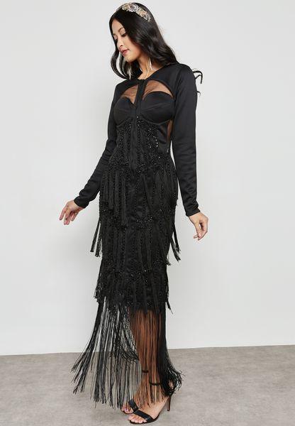 Embellished Sheer Insert Dress