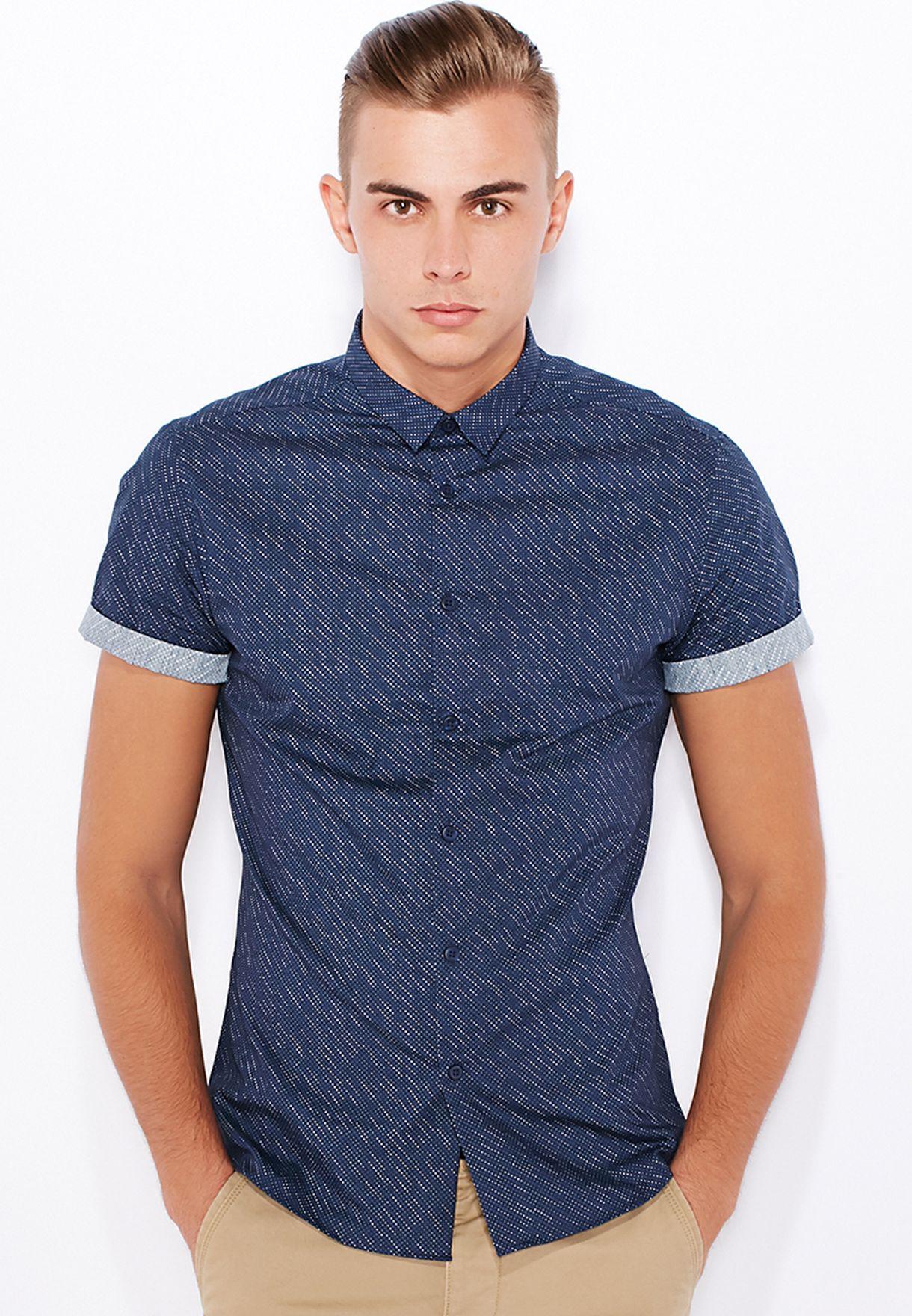 fa94f2e25 Shop Topman blue Bali Dot Slim Fit Shirt 84G35JNAV for Men in Saudi ...