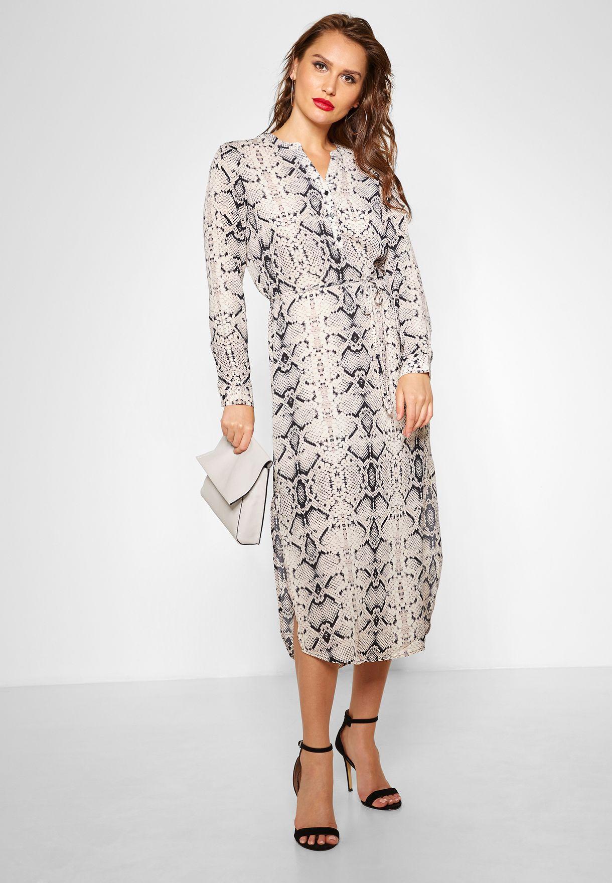 Snake Print Long Sleeve Dress