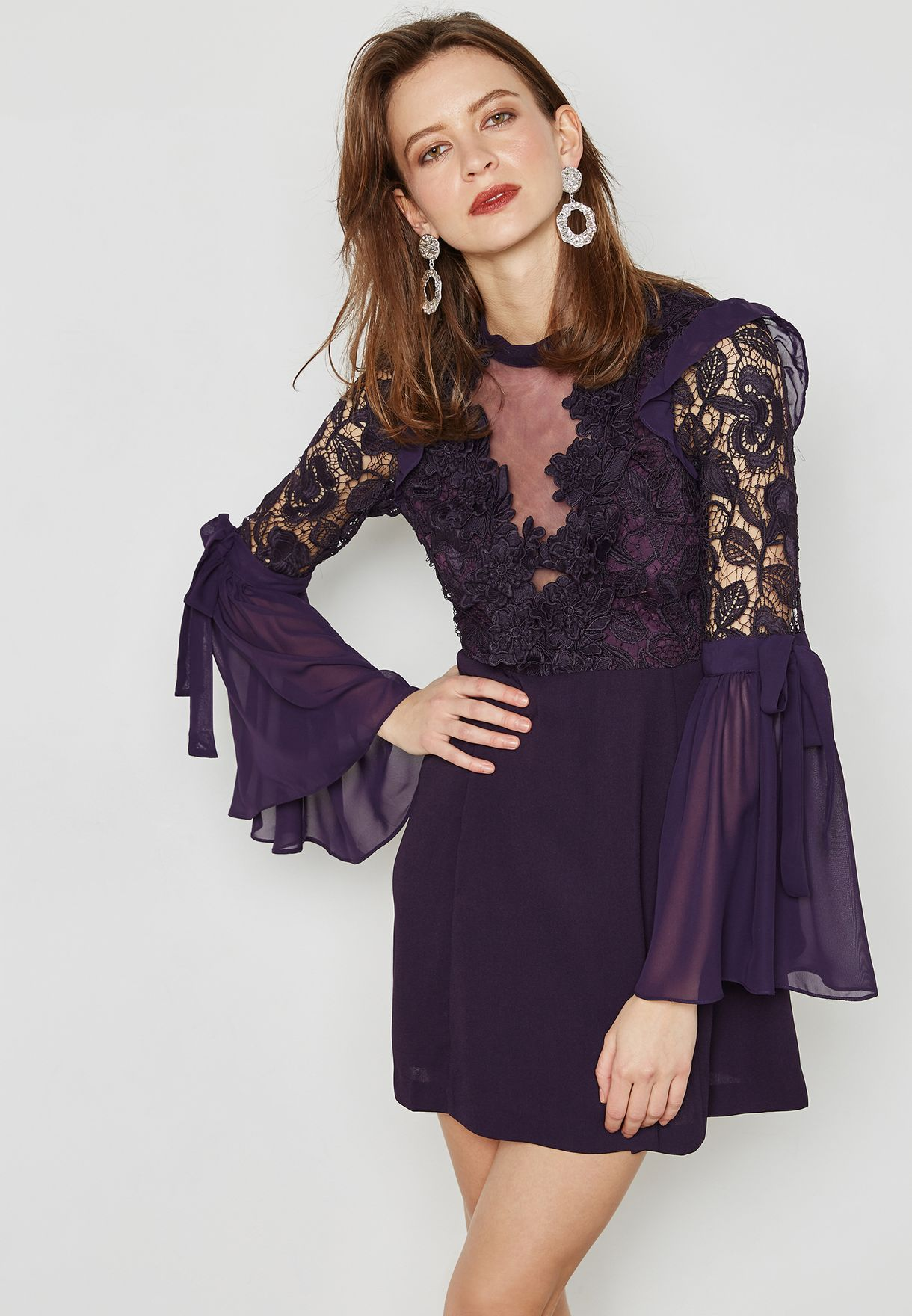 Plunge Lace Detail Dress