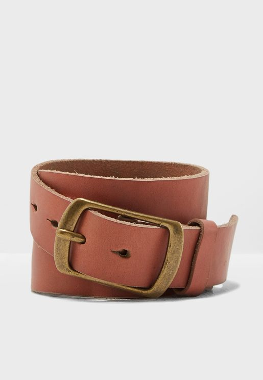 حزام جلد كلاسيكي عريض