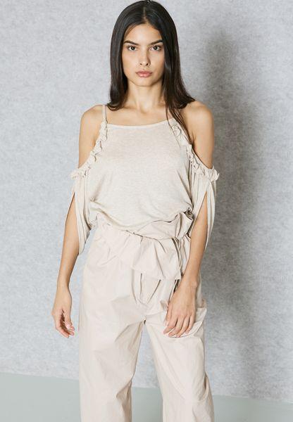 delicate Shop Mango beige Frill Detail Cold Shoulder Top 83007629 for Women  in UAE