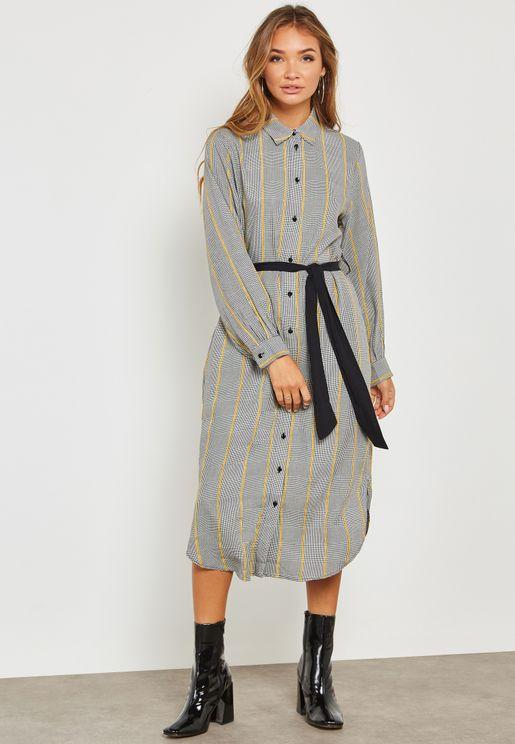 Plaid Tie Waist Dress
