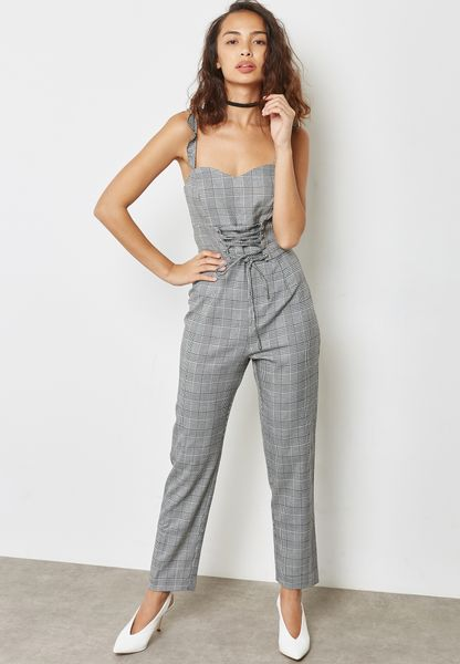 Checked Corset Jumpsuit