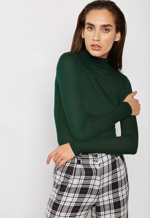 High Neck Fine Knit Sweater