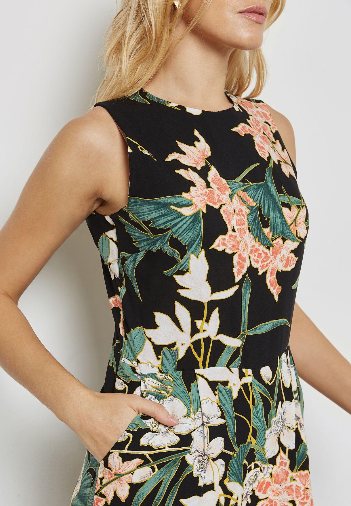 Floral Print Culottes Jumpsuit