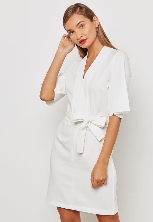Kimono Sleeve Belted Dress
