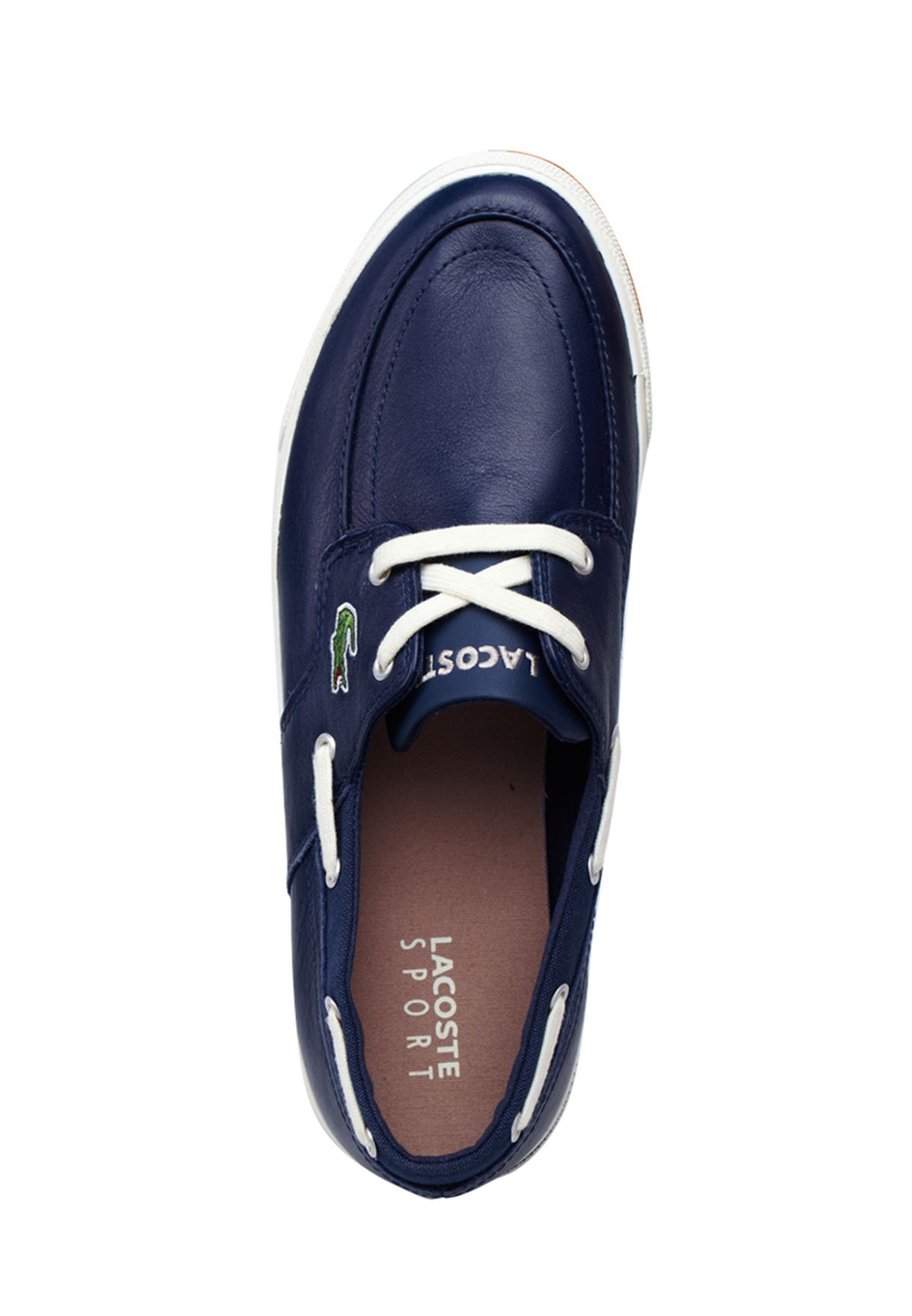 f1e7e1ac7cce83 Shop Lacoste blue Newton Boat Boat Shoes 24SPM1238-1W6 for ...
