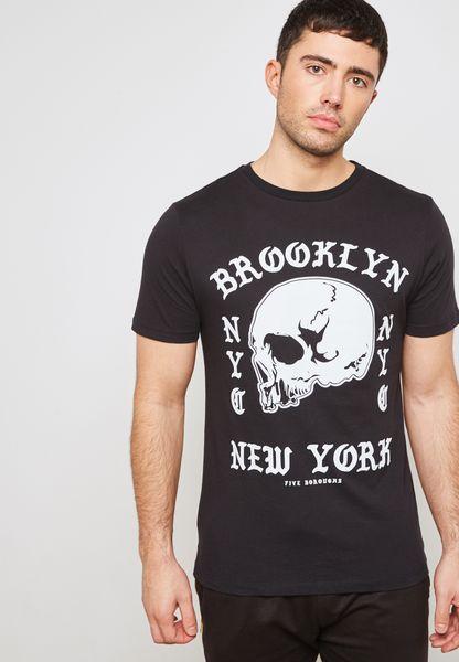 Brooklyn Skull  Print Crew Neck T-Shirt