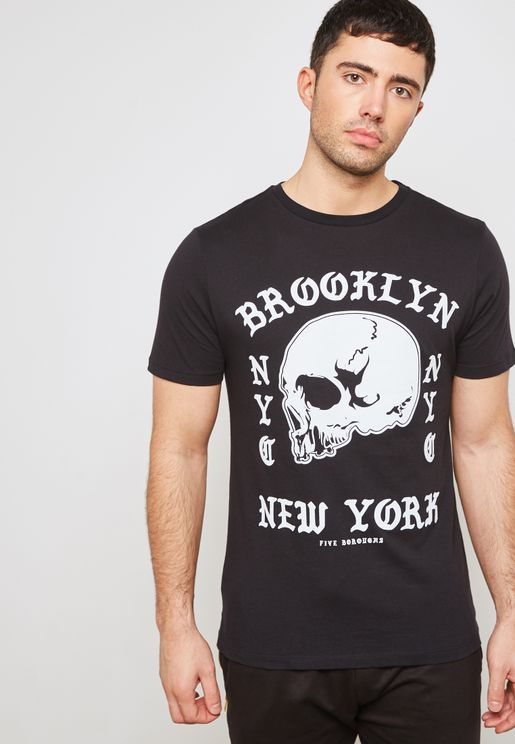 Brooklyn Skull  Print Crew Neck T-Shirt