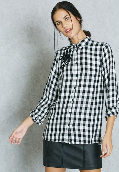 Womens Embroidered Checkered Shirt New Look Explore Cheap Online Clearance Brand New Unisex Explore Buy Cheap For Sale Big Sale eOhisz