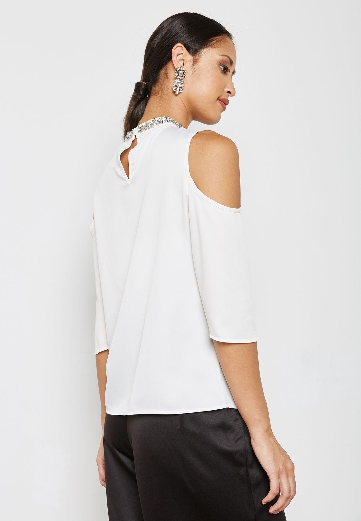 Embellished Neck Cold Shoulder Top