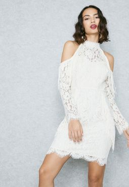 Fringed Lace Cold Shoulder Bodycon Dress
