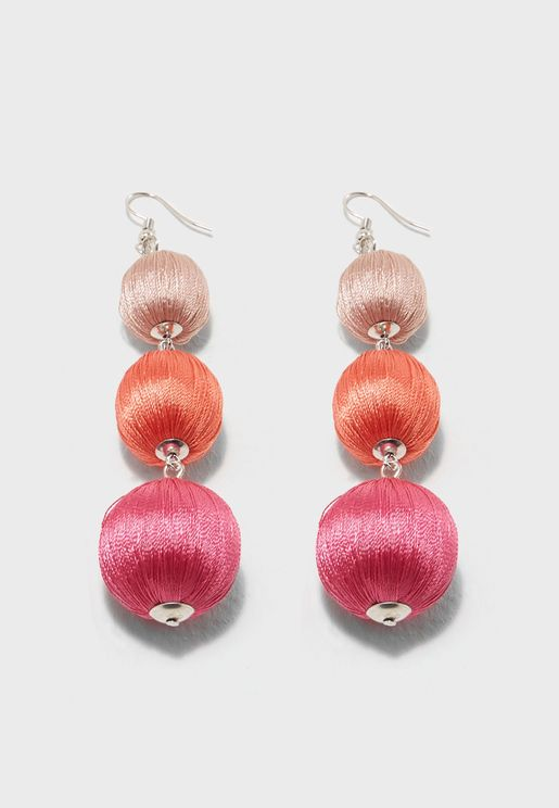 Ombre Wrapped Ball Drop Earrings