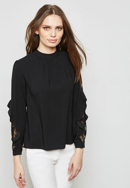 High Neck Lace Sleeve Top