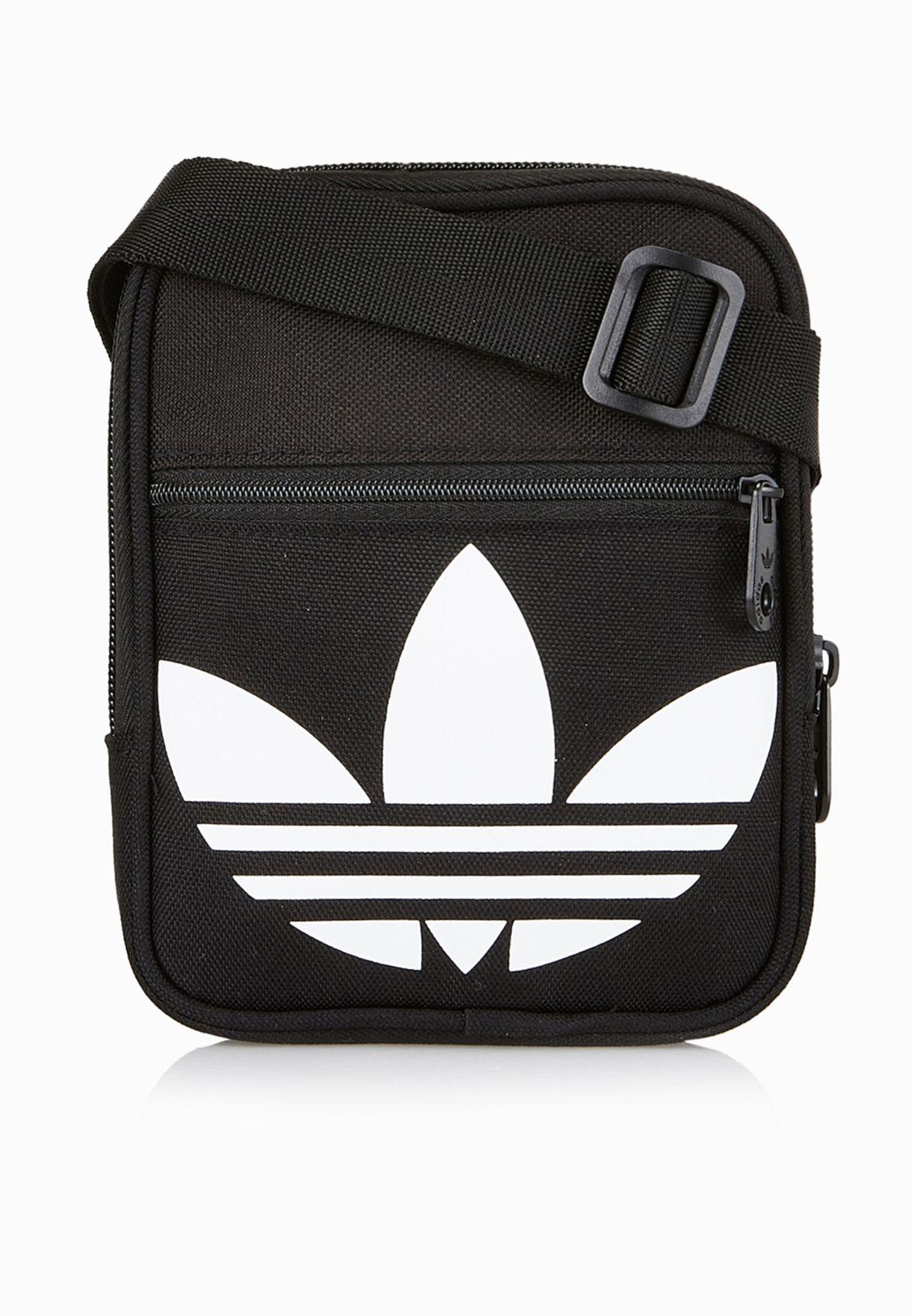 2b0edccfcb Shop adidas Originals black Trefoil Festival Messenger AJ8991 for ...