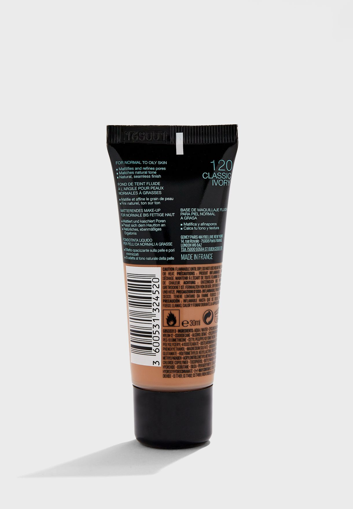 Fit Me Matte and Poreless Foundation 120 Classic Ivory
