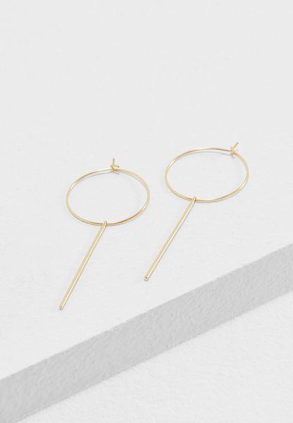 Long Bar Drop Hoop Earrings