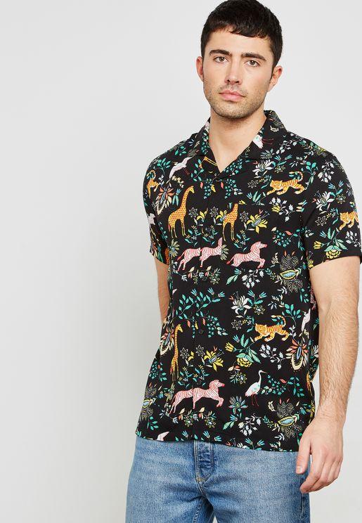 Jungle Print Cuban Collar Shirt