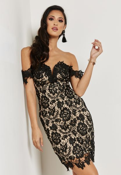 Lace Bardot Bodycon Dress