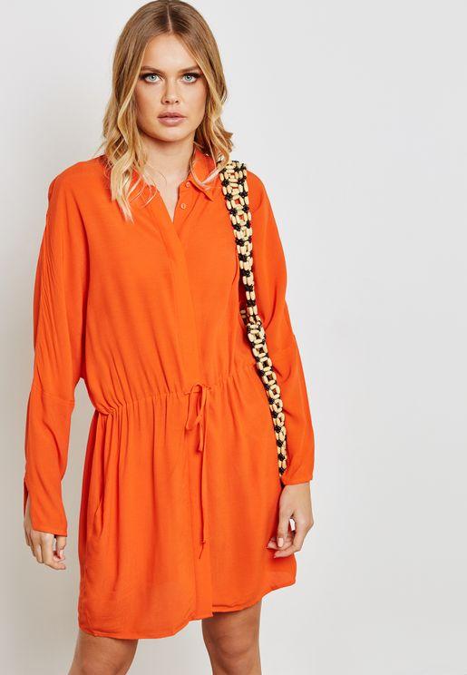 فستان بنمط قميص مع أربطة