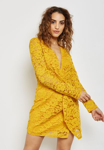 Front Twisted Lace Plunge Dress