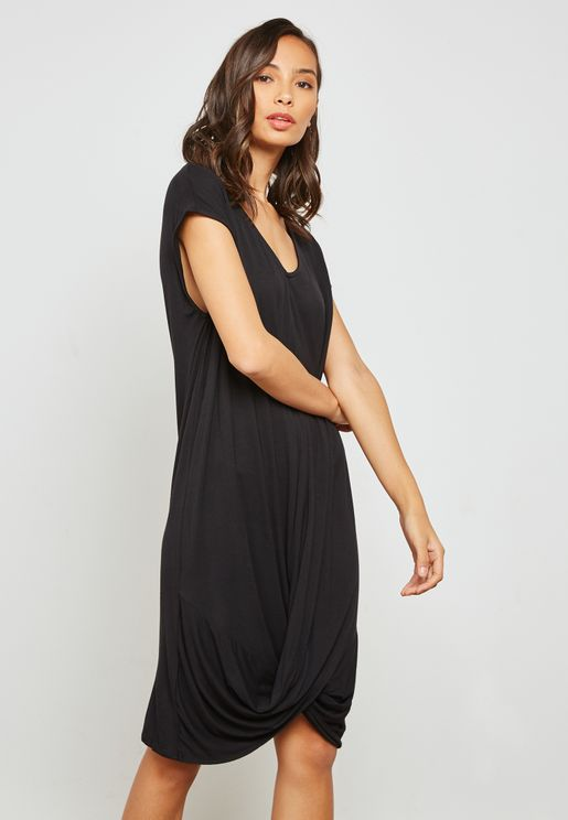 Draped Hem Midi Dress