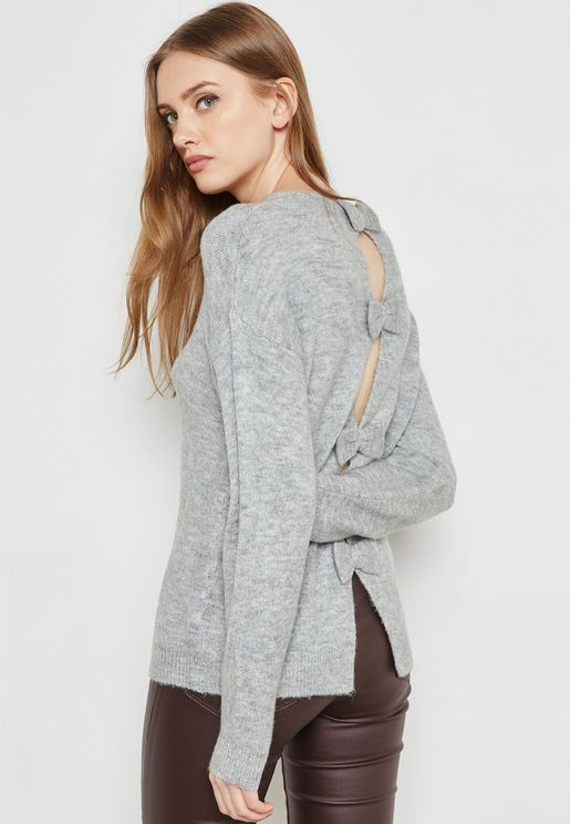 Open Bow Back Sweater