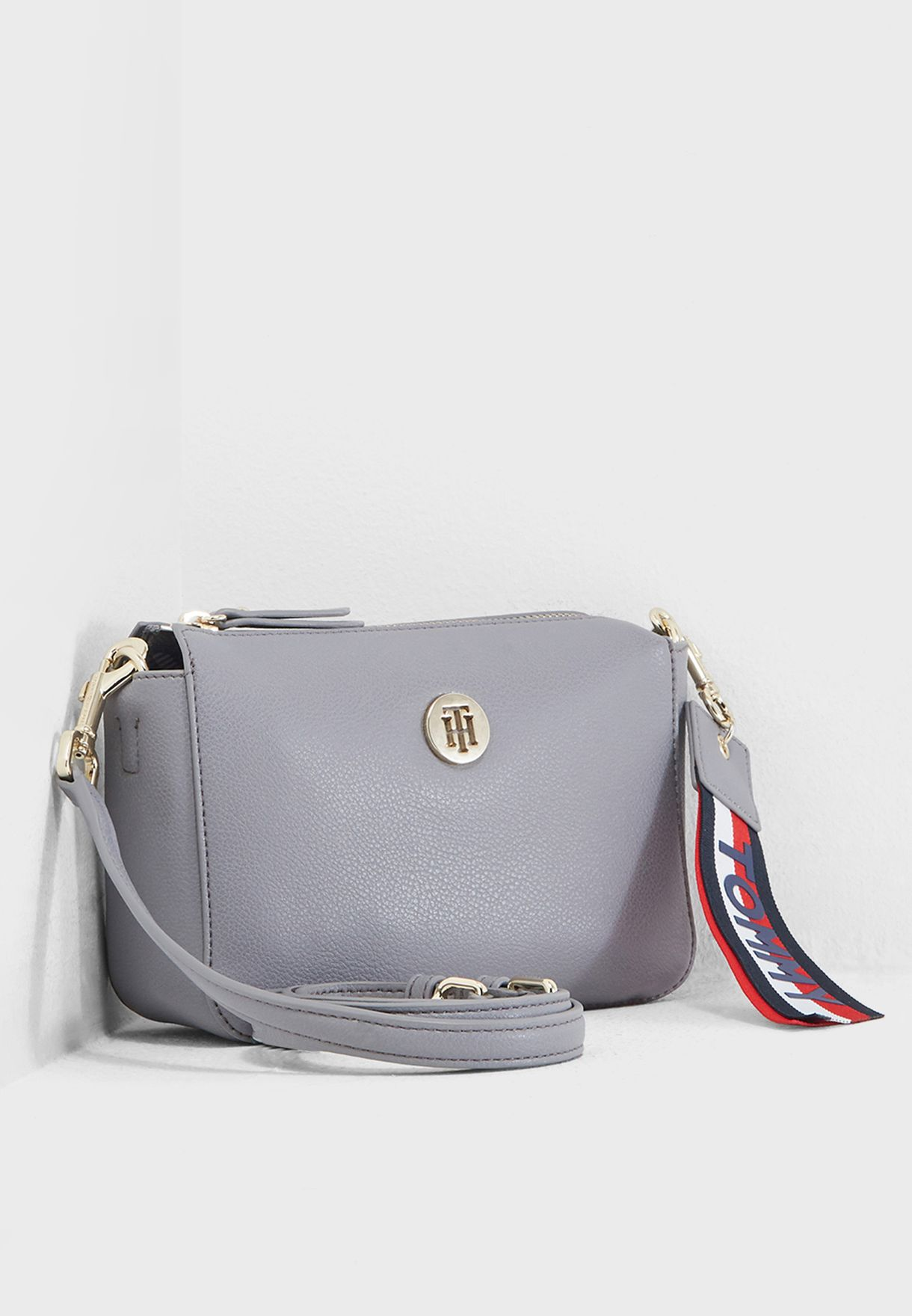 8a258d889d2 Shop Tommy Hilfiger grey Charming Flap Crossbody AW0AW05689 for ...