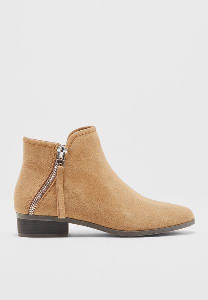 Ladies Bootie W/ Asymetric Zipper