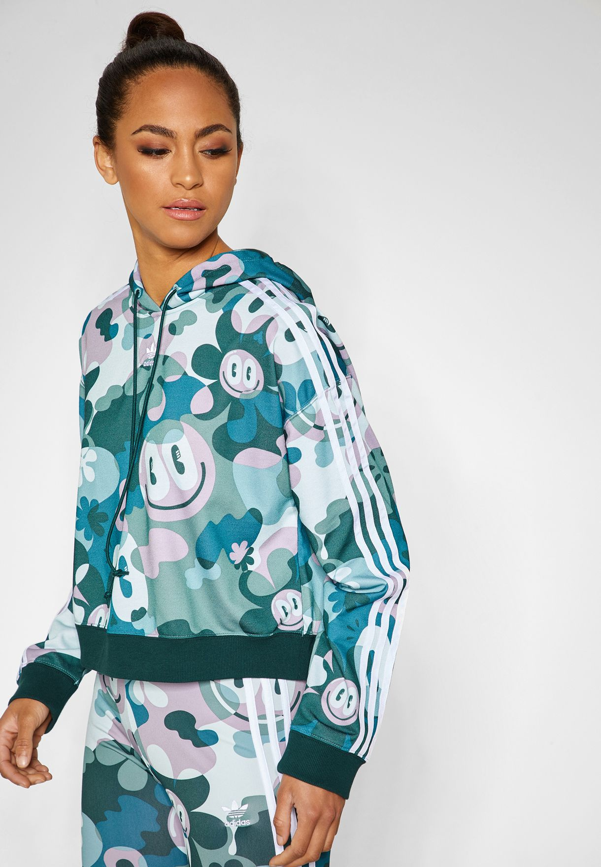 c324cf049e67c5 Shop adidas Originals prints AOP Cropped Hoodie DV2661 for Women in ...