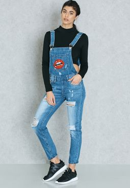 Badge Ripped Denim Dungaree