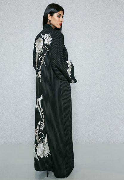 Self Striped Embroidered Back Bisht