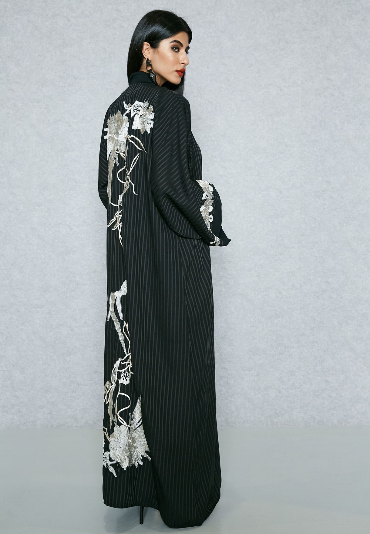 Self Striped Embroidered Back Bisht