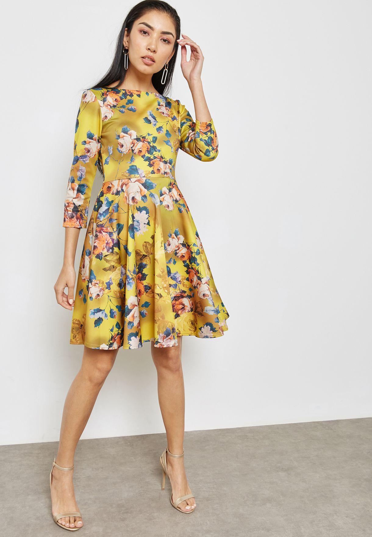 84c28c90733 Shop Closet prints Scuba Skater Dress JD3196 for Women in UAE ...