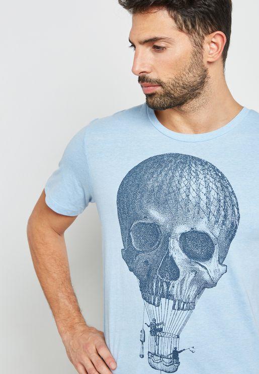Koszulka Skull Print Crew Neck T-Shirt