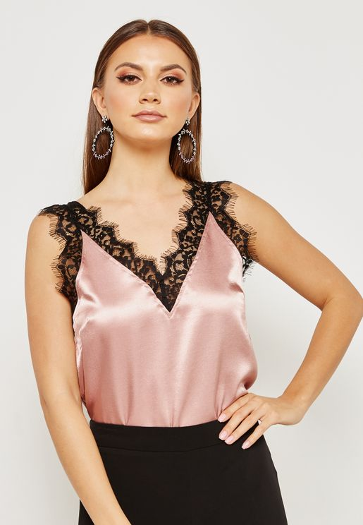 Lace Insert Satin Cami Top