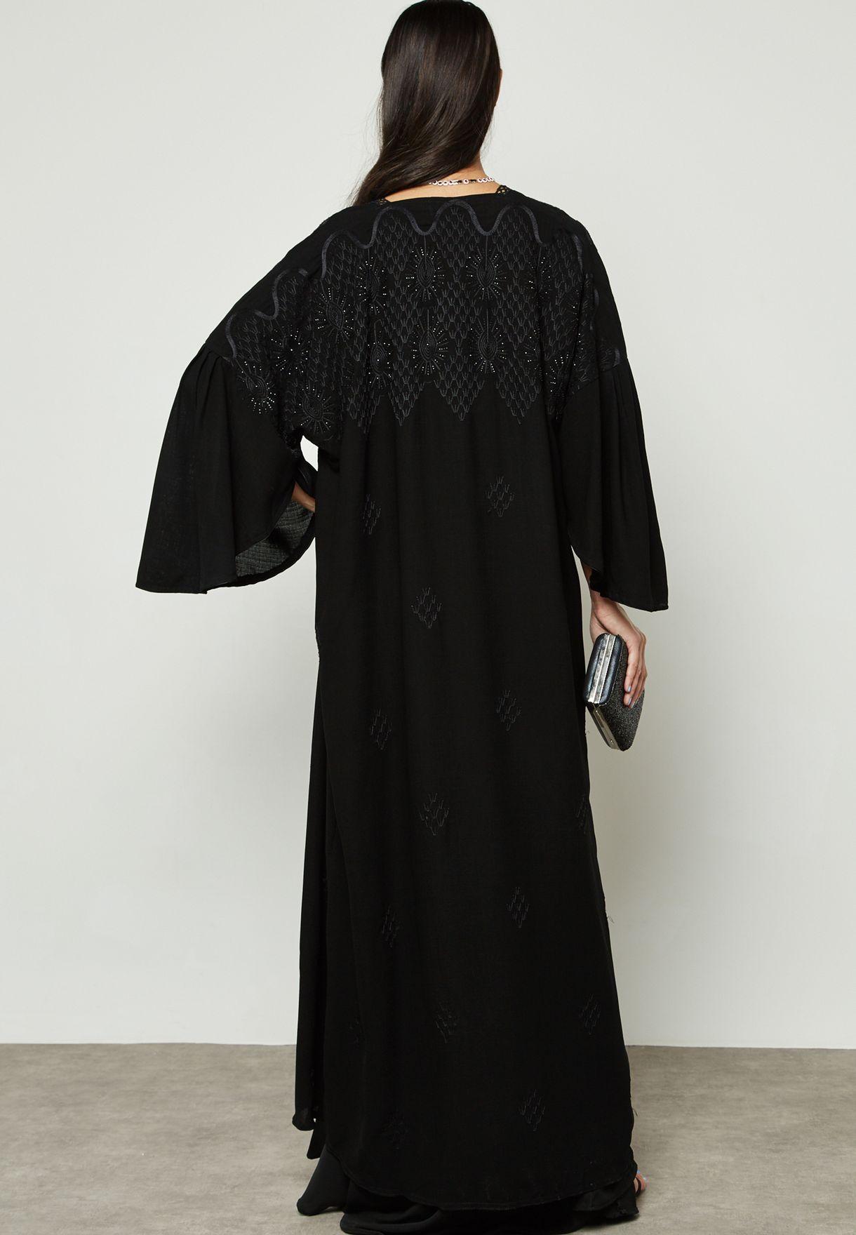 Embroidered Pleated Sleeve Abaya