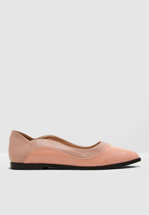 Olivia Mixed Material Flat Shoe