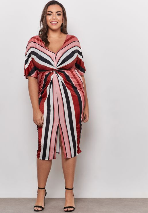 Twisted Front Striped Dress