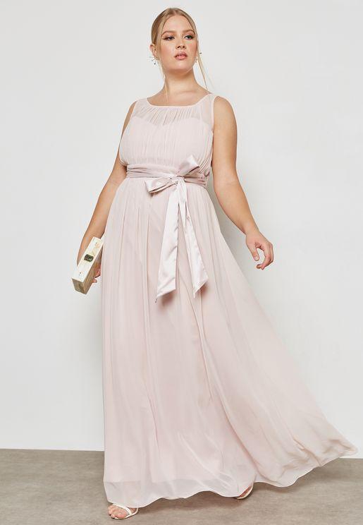 Belted Maxi Bridesmaid Dress