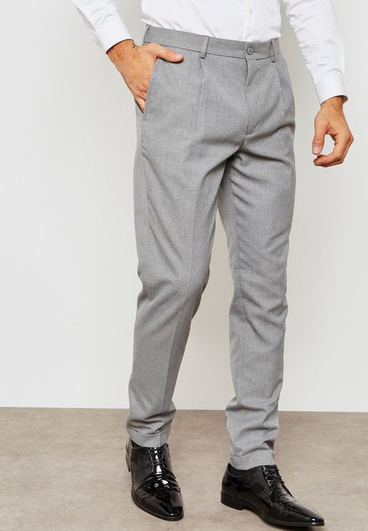 Slim Fit Side Zip Pleated Trousers