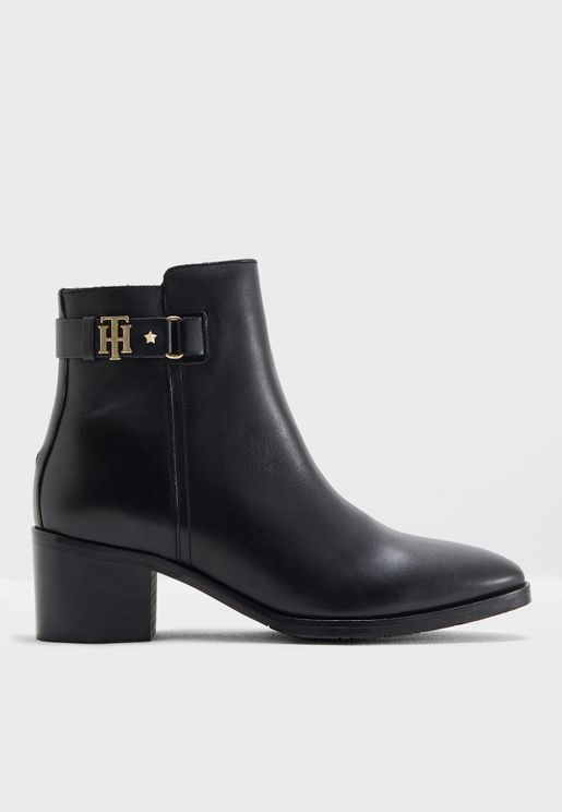 TH Buckle Mid Heel Boot Leather