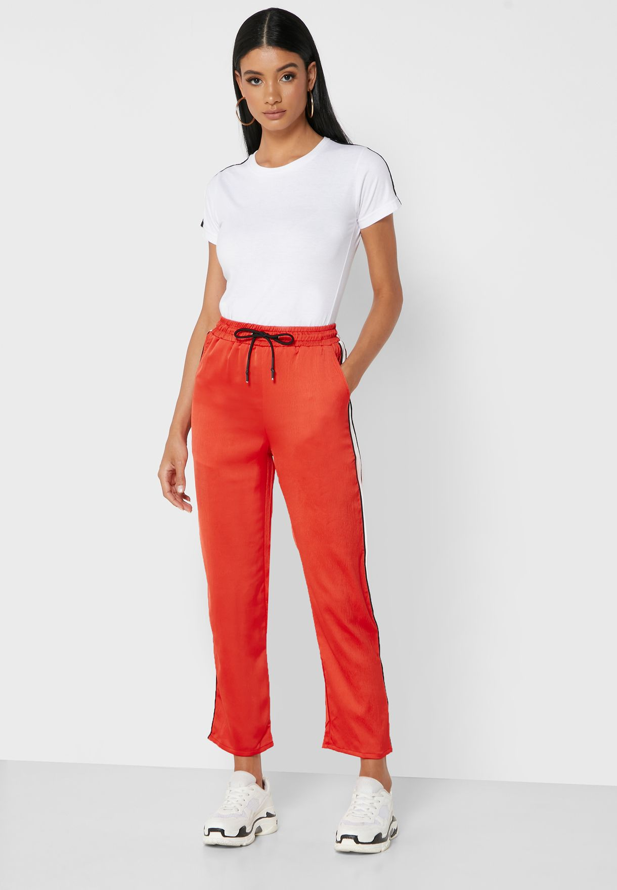 Contrast Side Paneled Satin Pants