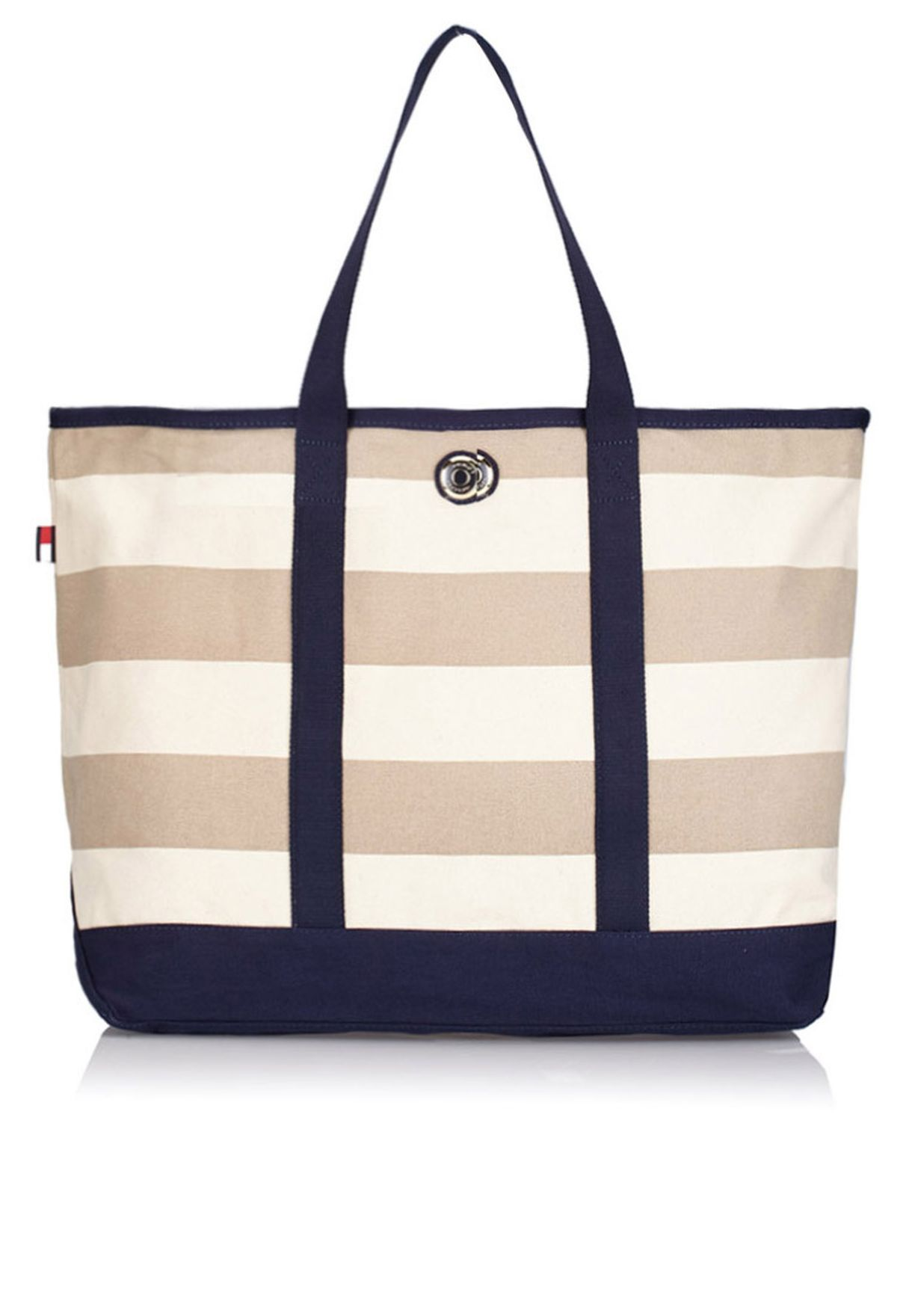 43636115a57 Shop Tommy Hilfiger beige Rugby Stripe Shopper 6927881 for Women in ...